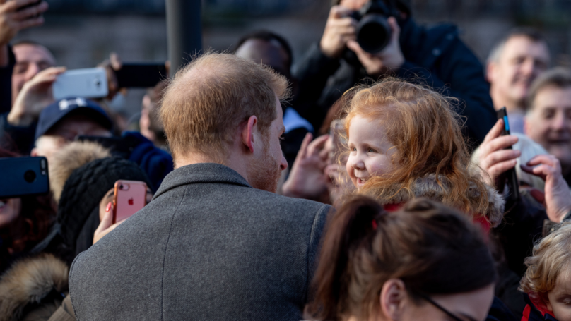 Prince Harry Hugs A Little Girl After Seeing Her 'Gingers Unite' Sign