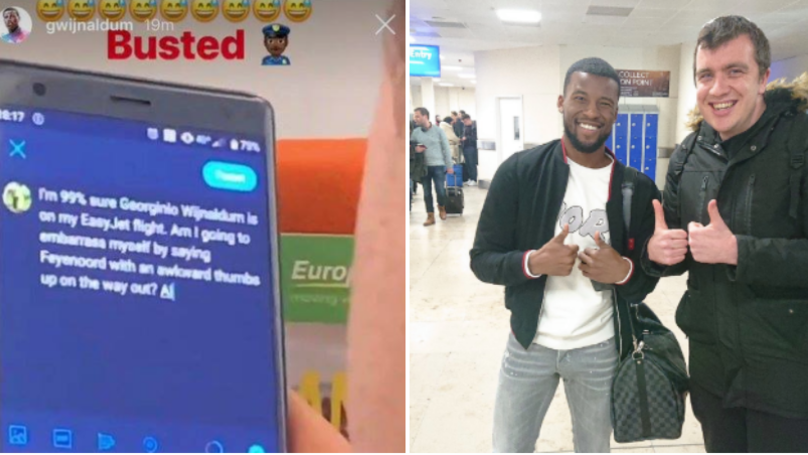 Georginio Wijnaldum Hilariously Catches Tweeting Fan On Same Flight