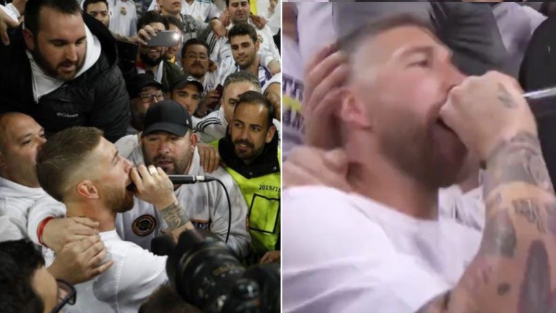Sergio Ramos Grabs Microphone And Sings With Madrid Fans After Full-Time