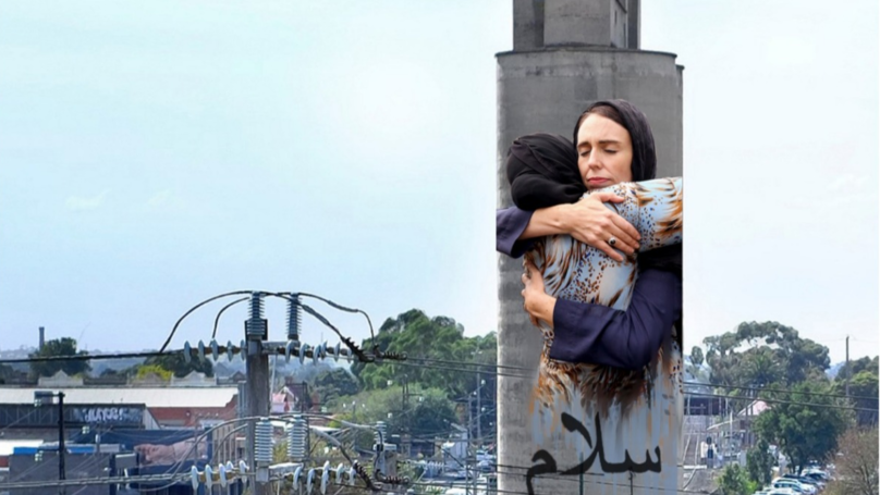 Image Of New Zealand PM Hugging Mourner To Be Immortalised On Melbourne Silo