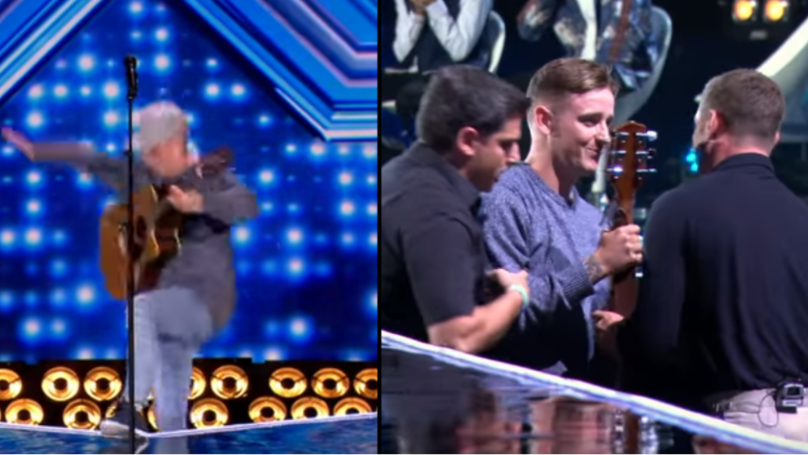 'X Factor' Contestant Falls Backwards Off Stage After Losing His Footing