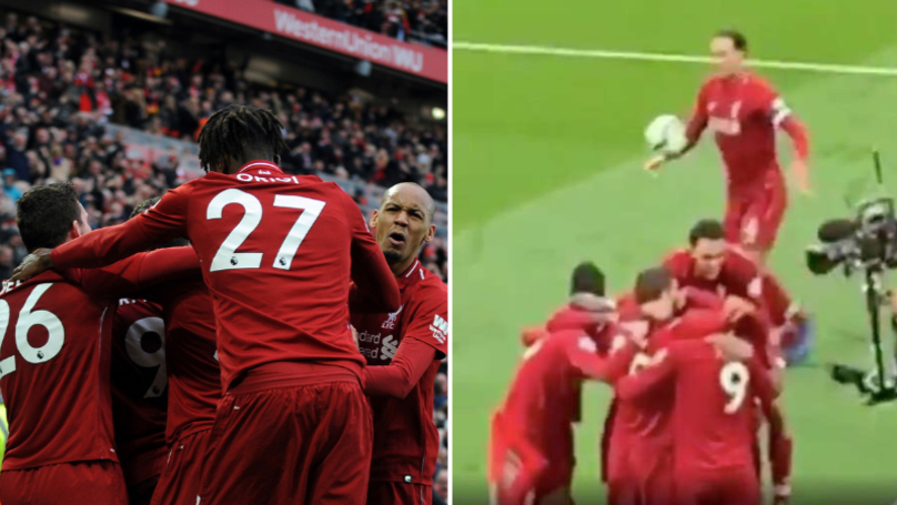 Virgil Van Dijk Celebrates Winner By Booting The Ball Into The Crowd