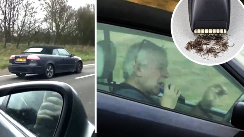 Man Takes Both Hands Off Wheel To Shave While Driving On Motorway