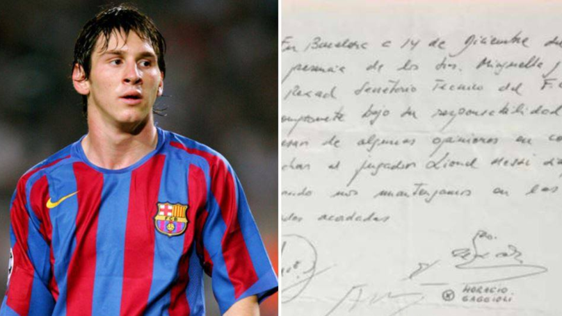 What Was Written On Lionel Messi's First Contract With Barcelona