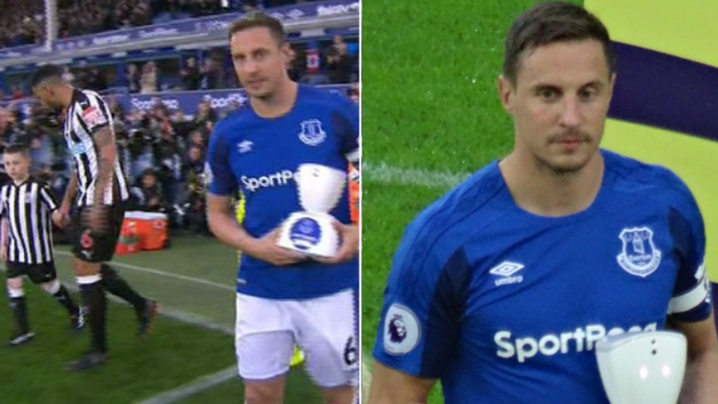 Phil Jagielka Carried The World's First Virtual Mascot On The Pitch For A Great Reason
