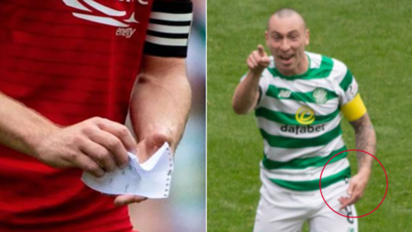 The Moment Scott Brown Steals Tactics Note From Aberdeen Player And Laughs