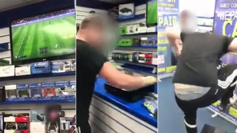 Angry Customer Destroys An Xbox One In Store After Losing Game Of FIFA