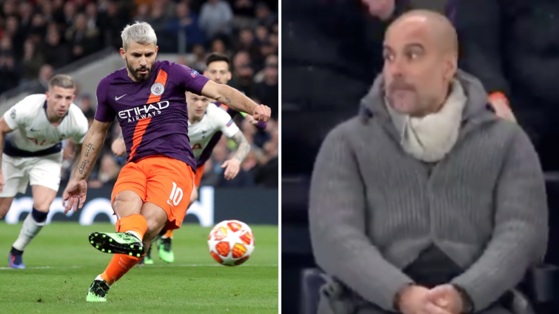 Pep Guardiola's Reaction To Sergio Agüero's Penalty Miss Against Spurs Is Priceless