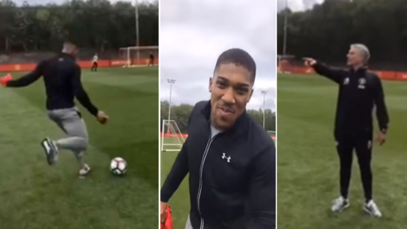 Jose Mourinho's Classic Reaction To Seeing Anthony Joshua Kick A Football