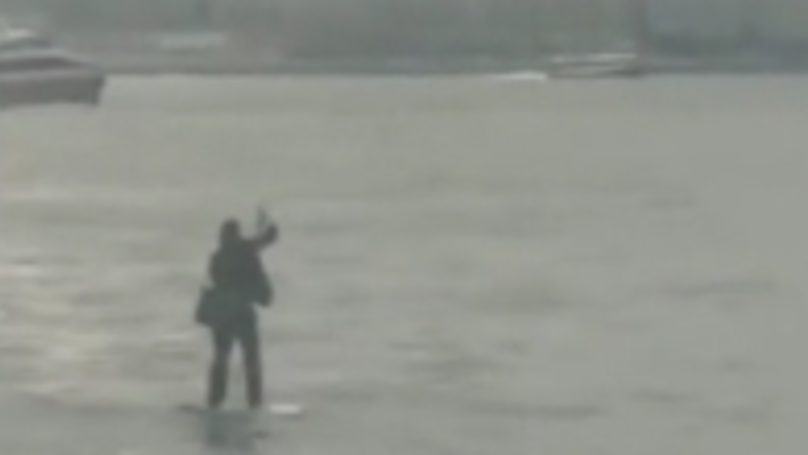 Man In Suit Paddleboards Across Hudson River To Make Meeting In NYC