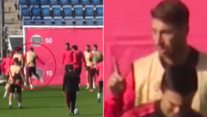 Sergio Ramos Completely Loses It After Real Madrid Youngster Accidentally Hits Him In Training