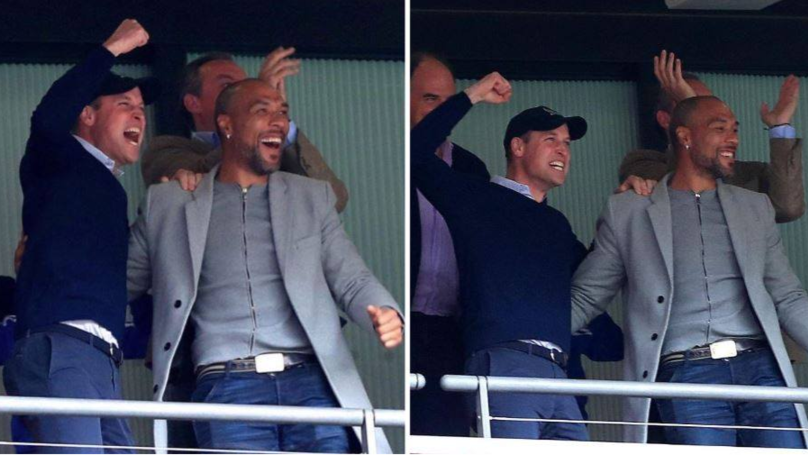 Prince William Celebrates Aston Villa's Promotion To The Premier League With John Carew