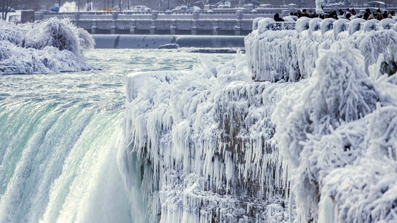 US Cold Snap Reaches New Level As Niagara Falls Freezes Over