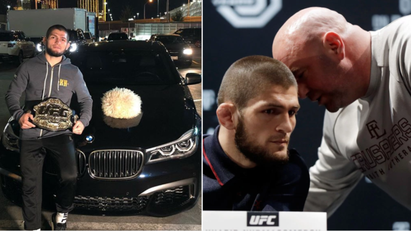 Khabib Takes Picture Of Dana White's Car And Playfully Threatens To Destroy It