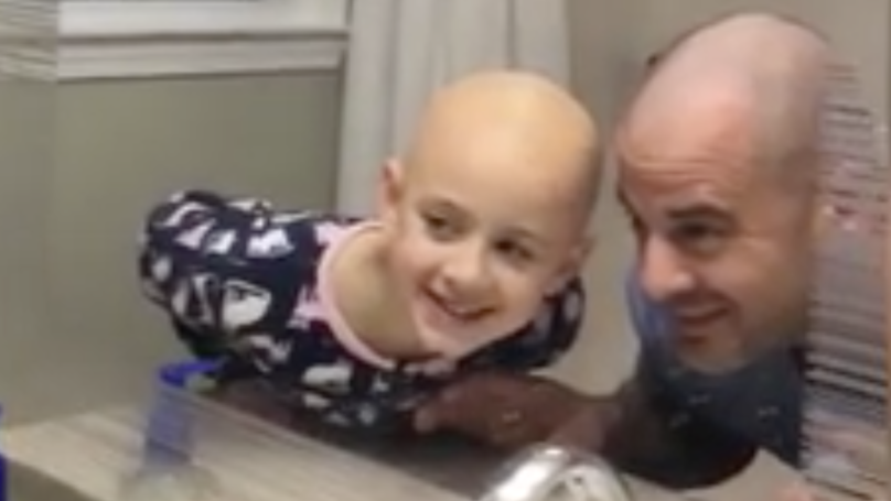 Dad Shaves Head To Cheer Up Daughter With Alopecia