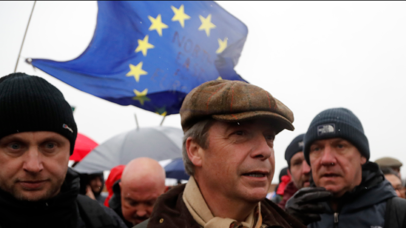 Around 200 People Showed Up To Set Off On Nigel Farage's Brexit March