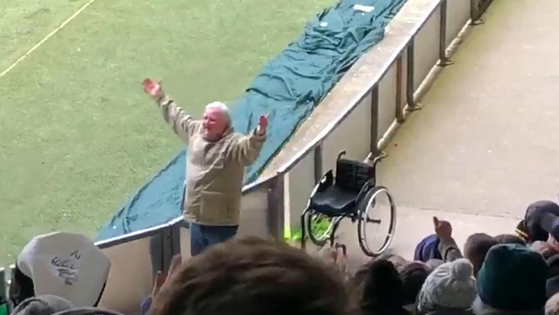 Football Fan Jumps Out Of Wheelchair When Team Scores