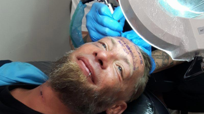 Homeless Man Paid To Get Groom's Name Tattooed On His Forehead