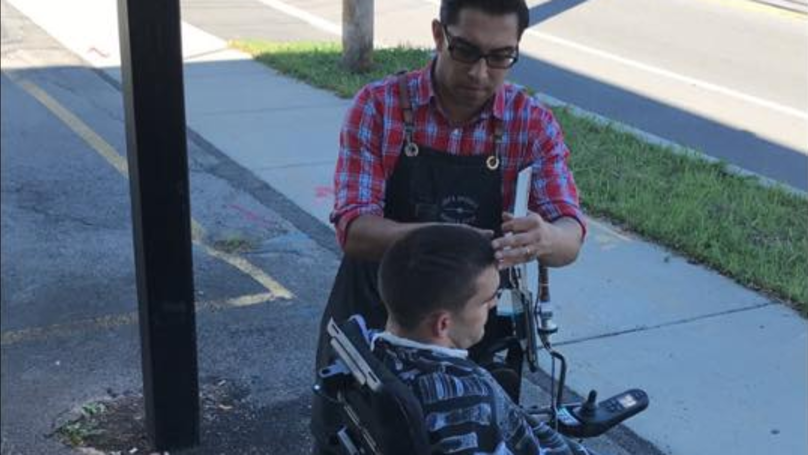 Barber Cuts Man's Hair Outside Because The Shop Wasn't Wheelchair Accessible