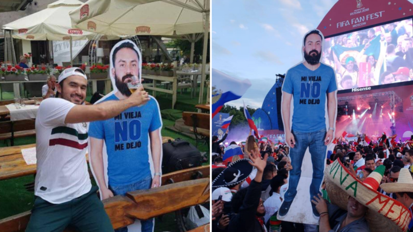 Mexican Lads Take Life-Size Cardboard Cutout Of Their Mate To World Cup
