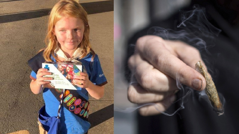 Canadian Girl Guide Sells Loads Of Cookies Outside New Weed Shop