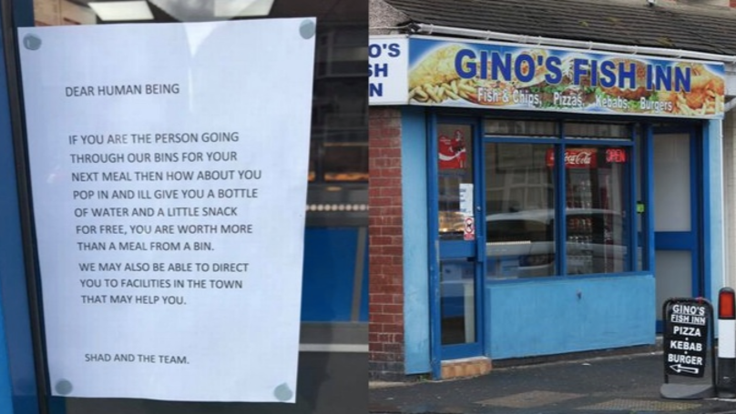 Chippy Owner Leaves Touching Note To Homeless Man Routing Through Bins
