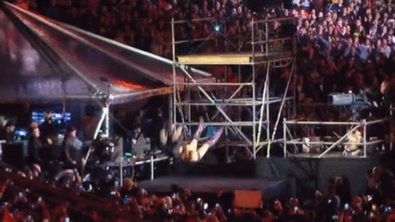 Shane McMahon And The Miz Fly From 15ft Scaffolding