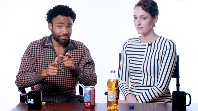 Donald Glover & Phoebe Waller-Bridge Eat American And UK Snacks