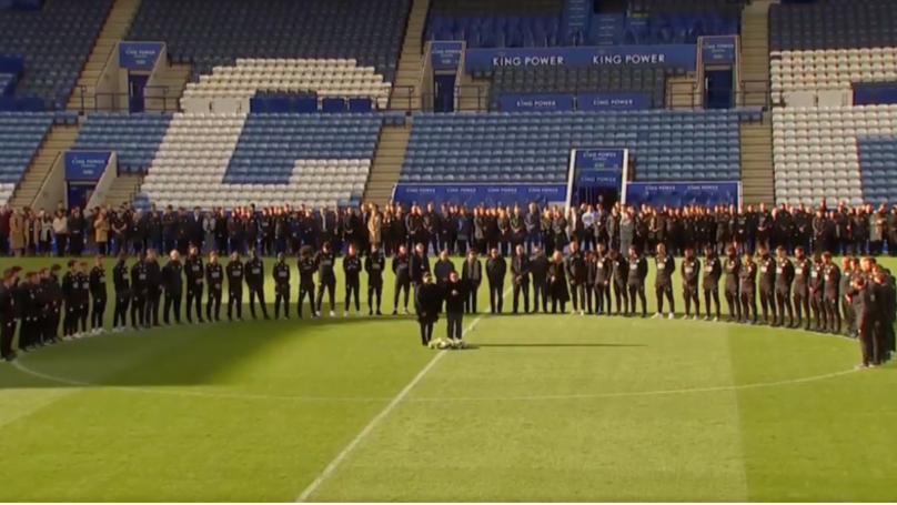 Leicester City First Team And Staff Honour Vichai Srivaddhanaprabha On King Power Stadium Pitch
