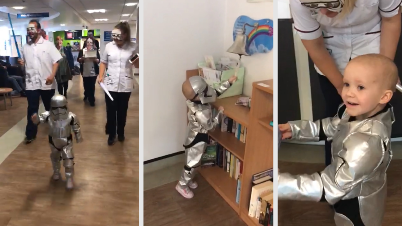 "Adorable Video Shows Little Girl Dressed As A Stormtrooper Ringing The ""Cancer Bell"""