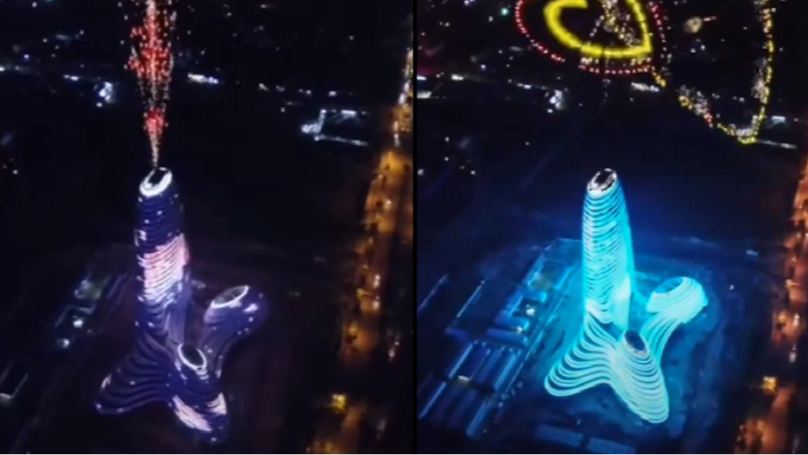 Firework Display On New Skyscraper Looks Like Ejaculating Penis