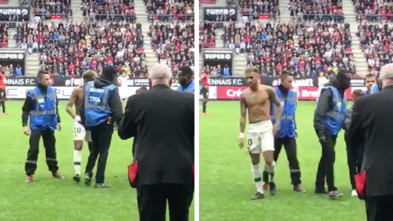 Neymar Comforts Teary Eyed Pitch Invader And Gives Him His Shirt