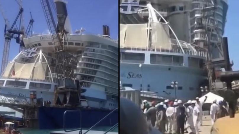 Heartstopping Moment Crane Collapses Through $1 Billion Dollar Cruise Ship
