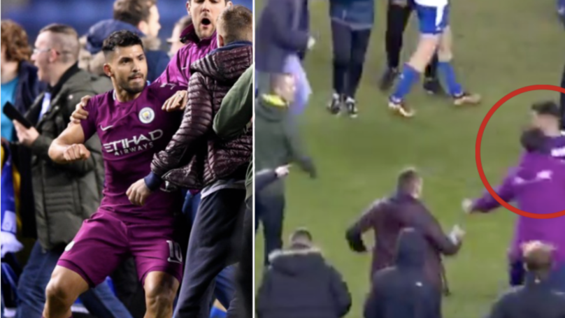 Sergio Aguero Hit Wigan Fan After Spitting Incident During Pitch Invasion
