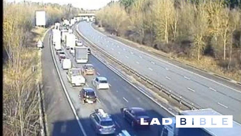 M11 Motorway Closed in Both Directions Due To Overturned Lorry