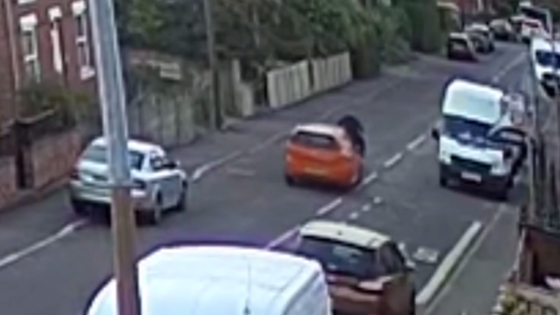 CCTV Shows Biker Who Had Been On Crime Spree Rammed Into Van