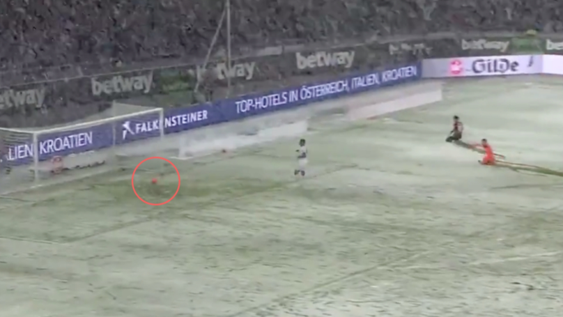Hannover Player's Shot Cleared Off The Line After Snow Slows Down The Ball