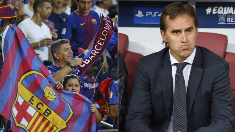 """Barcelona Fans Chant """"Lopetegui Stay, We Love You!"""" During Sevilla Win"""