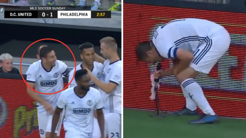 """MLS's Alejandro Bedoya Scores, Runs Over To Microphone And Shouts: """"End Gun Violence Now!"""""""