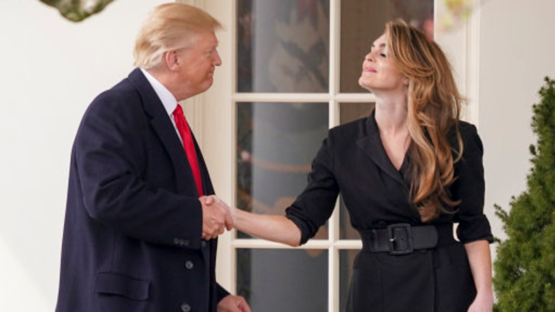 Donald Trump Awkwardly Leaning Into Kiss Hope Hicks Goodbye Has Become A Meme