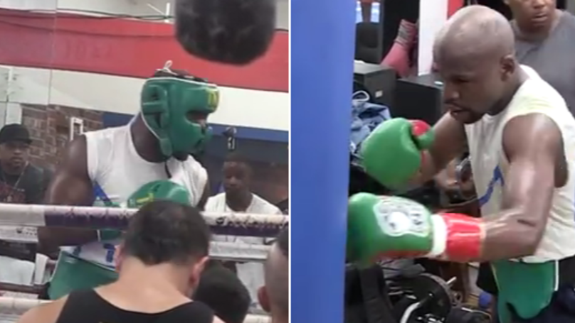 WATCH: First Look Into Floyd Mayweather's Training And Sparring For Conor McGregor  | SPORTbible