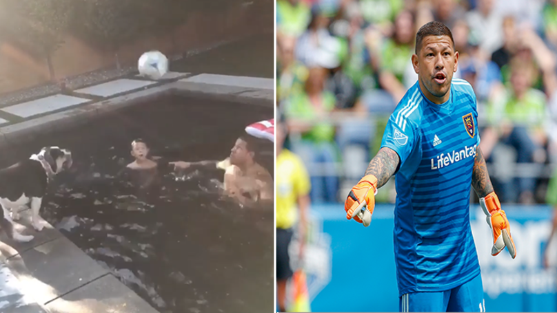 MLS Footballer Takes On Man's Best Friend In Hilarious Heading Competition