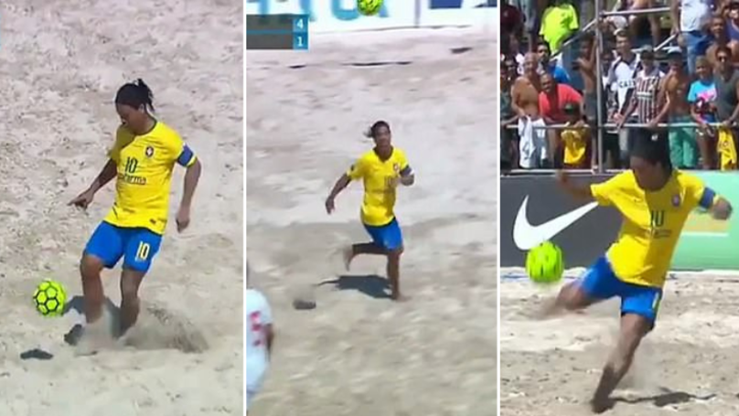 Ronaldinho Scores Outrageous Hat-Trick In Beach Soccer Match