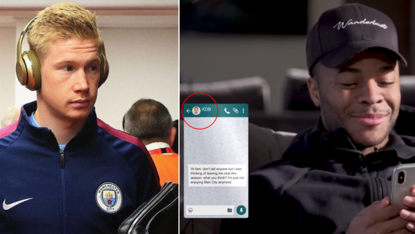 "Raheem Sterling Tells Kevin De Bruyne ""He's Thinking Of Leaving Man City"" In Phone Text Prank"