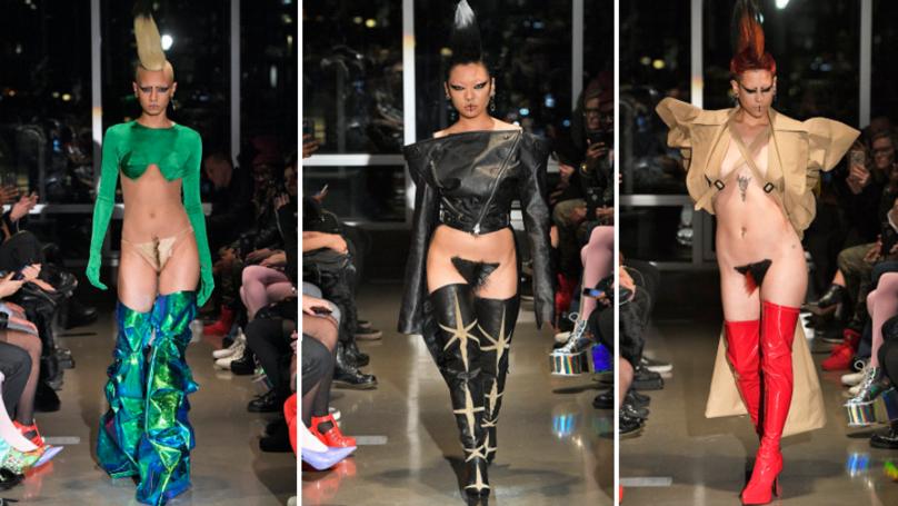 Models Debut 'Vagina Wigs' On The Kaimin Catwalk At New York Fashion Week