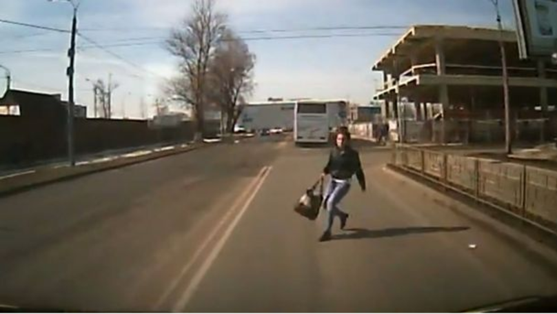 Russian Woman Tries To Jump In Front Of Van In Insurance Scam