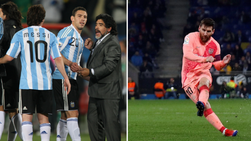 The Simple But Effective Piece Of Advice Diego Maradona Gave Lionel Messi Regarding Free-Kicks