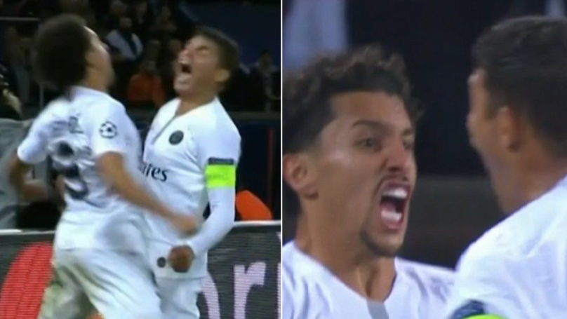 Thiago Silva And Marquinhos Passionately Chest-Pump After Winning A Goal-Kick