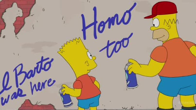 Барт рисует граффити