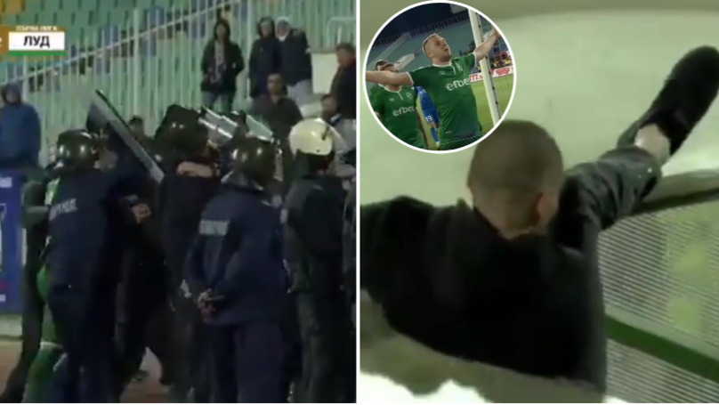 Ludogorets' Cosmin Moti Needs Police Escort Stadium, Levski Fan Falls Through Tunnel Trying To Attack Him